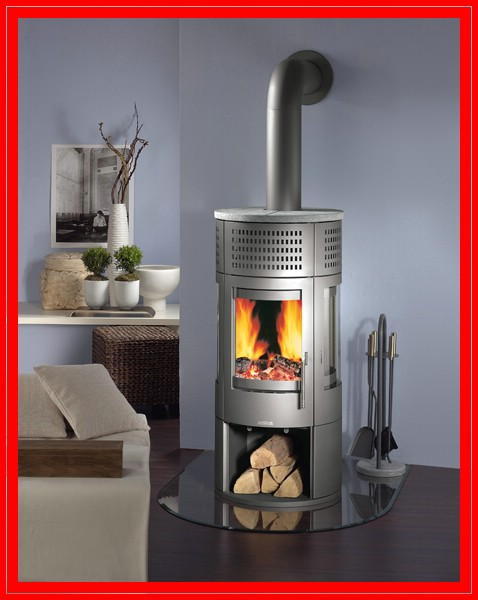 justus kaminofen rondo stahl kamin gussgrau 7 kw ebay. Black Bedroom Furniture Sets. Home Design Ideas