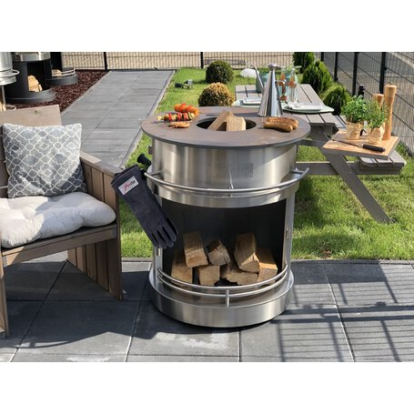 firestar feuertisch open fire bbq edelstahl geb rstet g nstig kaufen. Black Bedroom Furniture Sets. Home Design Ideas
